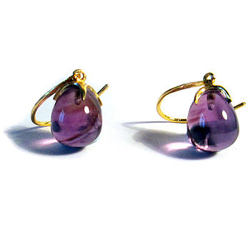 Amethyst Gold Earrings Claw