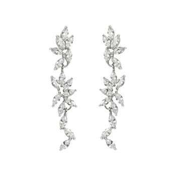 White Topaz Drop Earrings Diamante