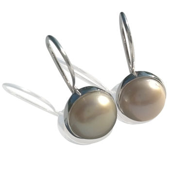 Pearl Earrings Silver Circular Pattern