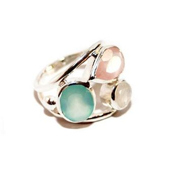 Silver Ring With Aqua, Rose And Moonstone
