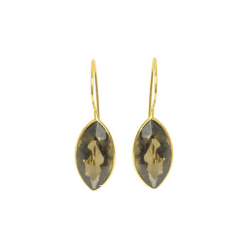 Smokey Quartz Drop Gold Earrings