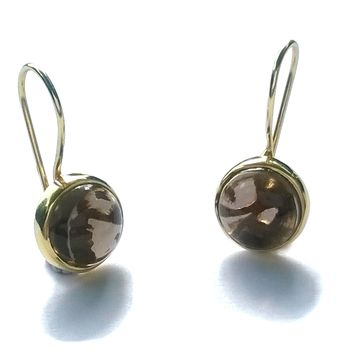 Labradorite Earrings Gold Circle Drop Pattern