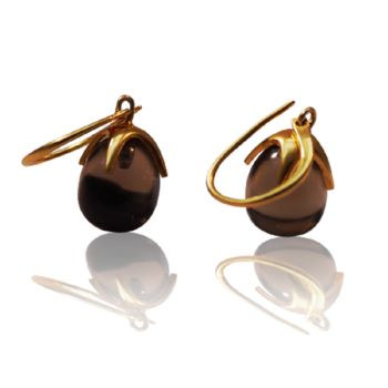 Smoky Topaz Earrings Circular Claw