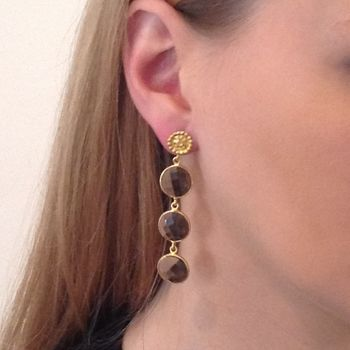 Smoky Topaz Earrings Gold Three Circular