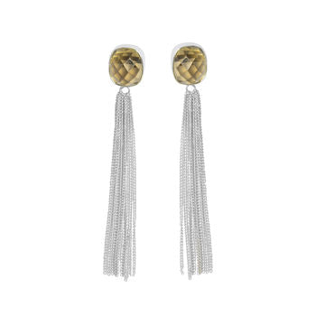 Smoky Topaz Silver Earrings Fringe Earrings