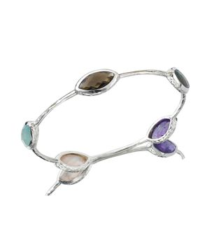 Solid Silver Bracelet With Multi Gemstones Bracelet