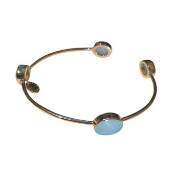 Aqua Gemstone Gold Bracelet