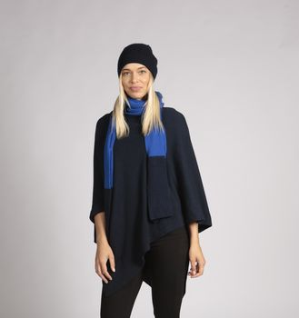 Cashmere Poncho Navy Blue Cashmere Poncho