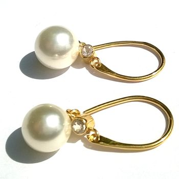 Gold Pearl Earrings Drop Earrings