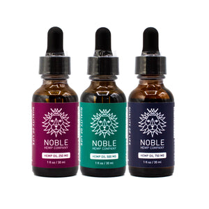 Tincture - Hemp Oil Drops - 250mg-500mg-750mg Full Spectrum Hemp Extract (3-Pack Sampler)