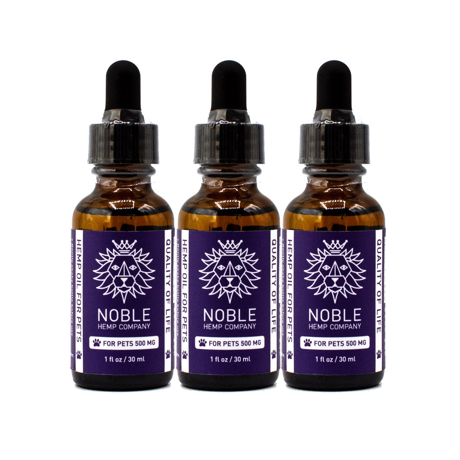Tincture for Pets - Hemp Oil Drops (human grade) - 500mg Full Spectrum Hemp Extract (3-Pack Special)
