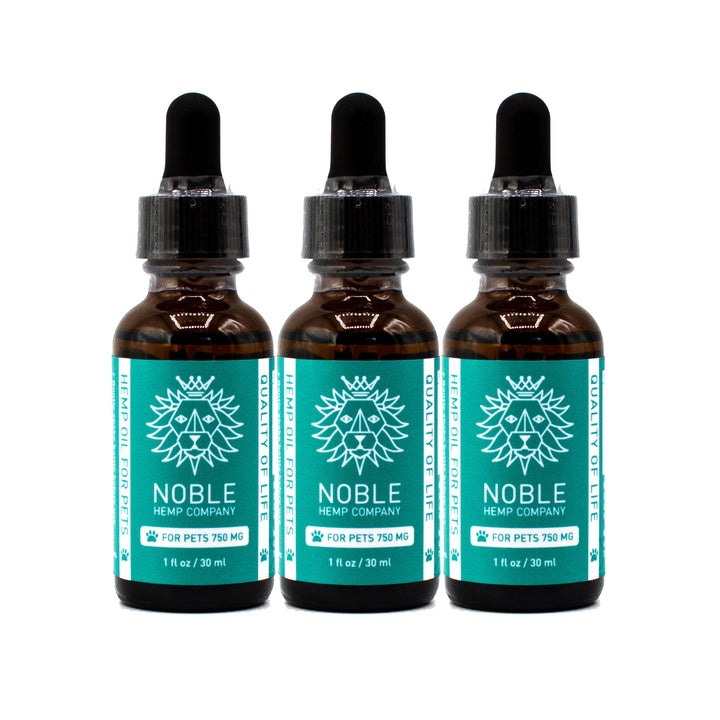 Tincture for Pets - Hemp Oil Drops (human grade) - 750mg Full Spectrum Hemp Extract (3-Pack Special)
