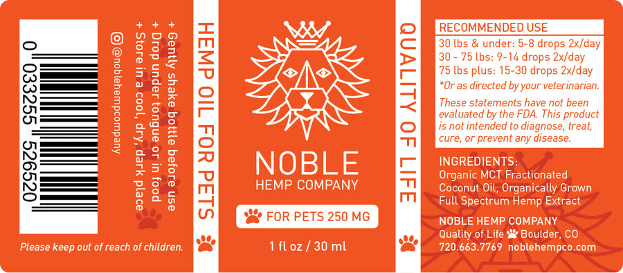 Tincture for Pets - Hemp Oil Drops (human grade) - 250mg Full Spectrum Hemp Extract