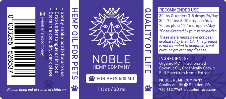 Tincture for Pets - Hemp Oil Drops (human grade) - 500mg Full Spectrum Hemp Extract (case of 24)