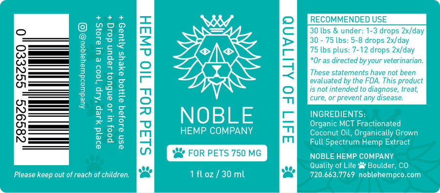 Tincture for Pets - Hemp Oil Drops (human grade) - 750mg Full Spectrum Hemp Extract (case of 24)