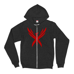"Unisex Limited Edition ""Crimson Phoenix"" Hooded Zipper Sweatshirt"