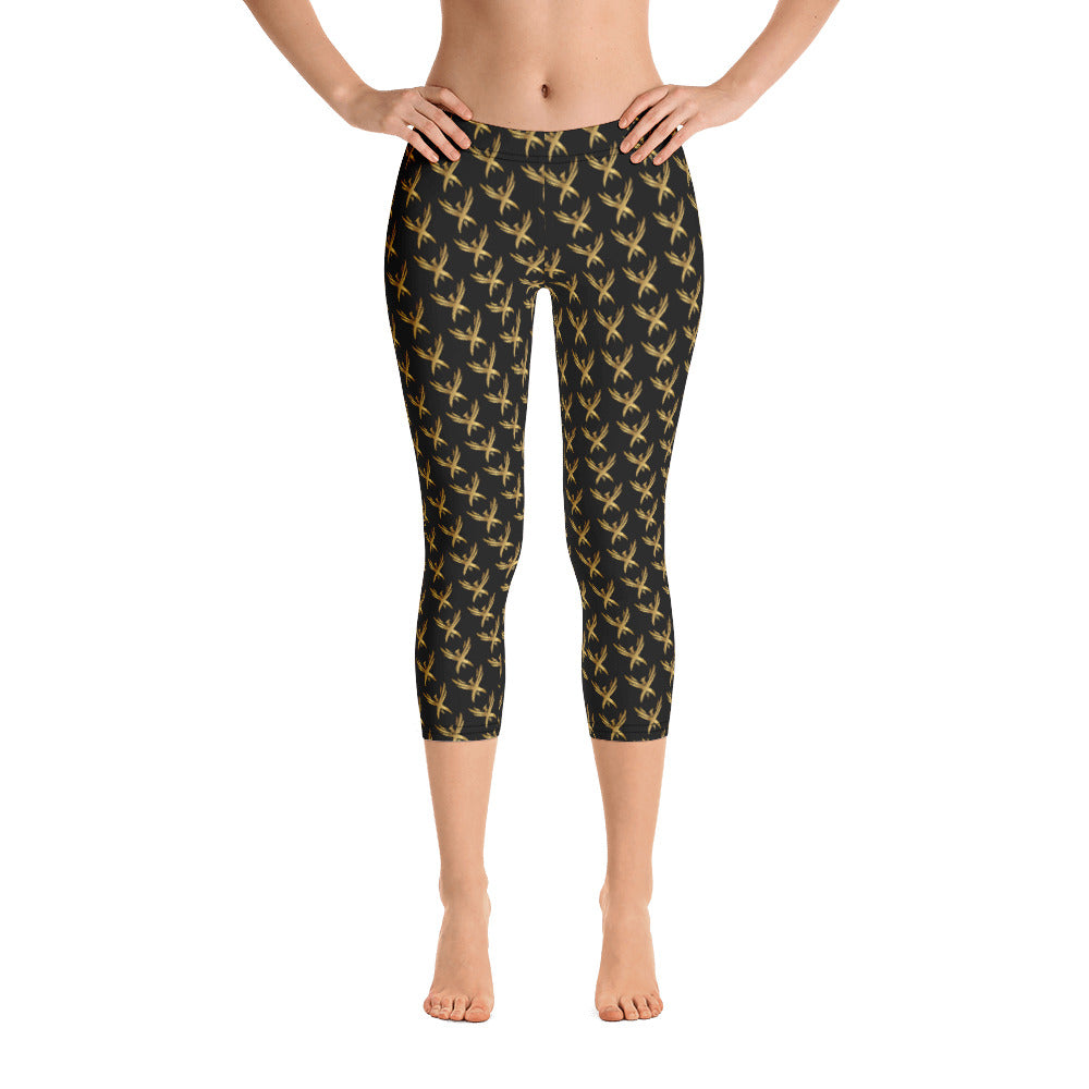 "Women's 'Golden Phoenix"" Capri Leggings"