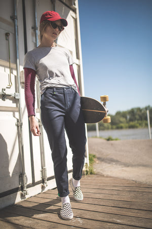 ANAIS Navy Blue Women's Skater Trousers