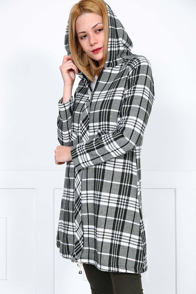 Women's Hooded Plaid Khaki Jacket - Hobbies Finder