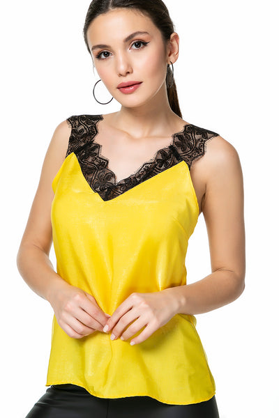 Lace Detailed Yellow Blouse