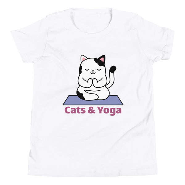 Cats and Yoga Design for Youth Short Sleeve T-Shirt - Hobbies Finder