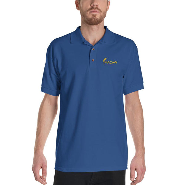 Macaw design Embroidered Polo Shirt for Men - Hobbies Finder
