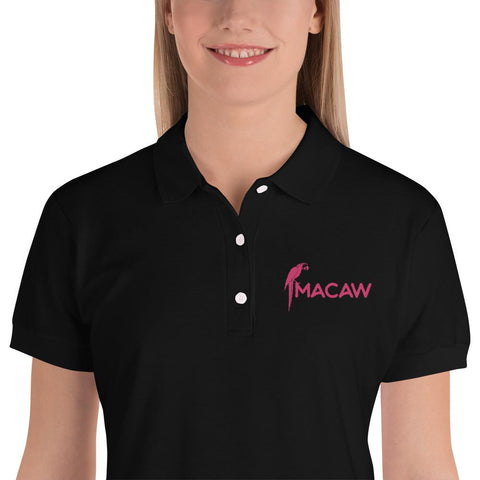 Best Macaw Design Embroidered Women's Polo Shirt - Hobbies Finder
