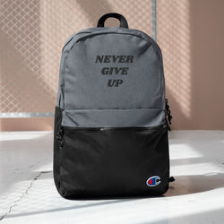 Never Give Up Quote Design Embroidered Champion Backpack Made in USA - Hobbies Finder