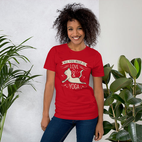 All you need is yoga and love ! New Short-Sleeve Unisex T-Shirt design for Women - Hobbies Finder