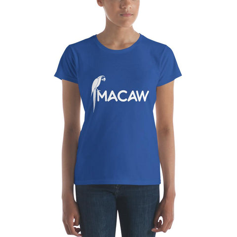Latest T-shirt for women with Pretty Macaw logo - Hobbies Finder