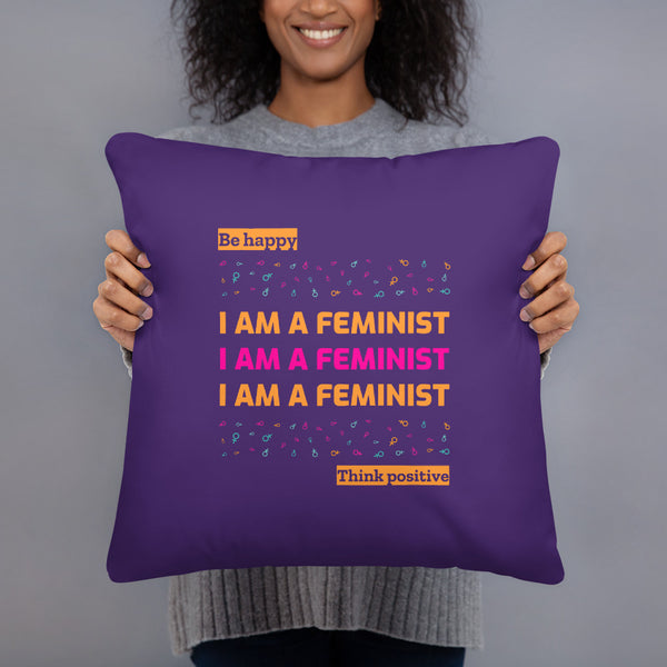 I am feminist Basic Pillow Design Printed from one side - Hobbies Finder