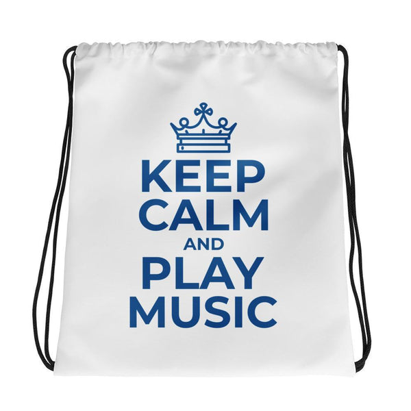 Keep Clam and Play Music Design Drawstring Bag - Hobbies Finder