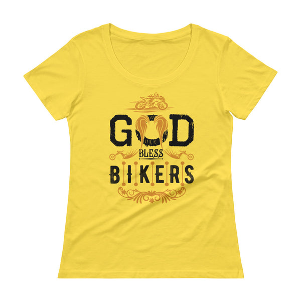God Bless Bikers New Design for Ladies' Scoop-neck T-Shirt - Hobbies Finder