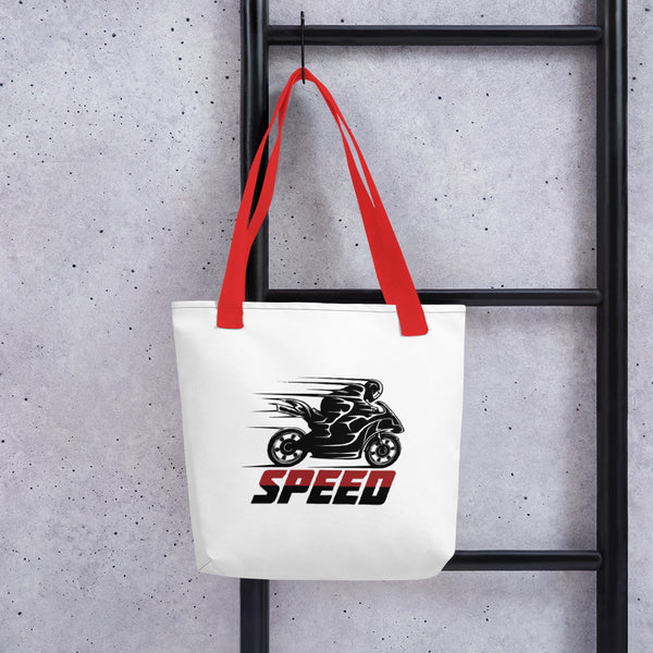 Just Speed Motorcycle Design Tote bag Made In USA - Hobbies Finder