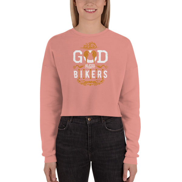 God Bless Bikers New Crop Sweatshirt Design for Women - Hobbies Finder
