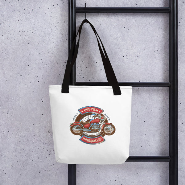 Custom Motorcycle Design Tote bag Made In USA - Hobbies Finder