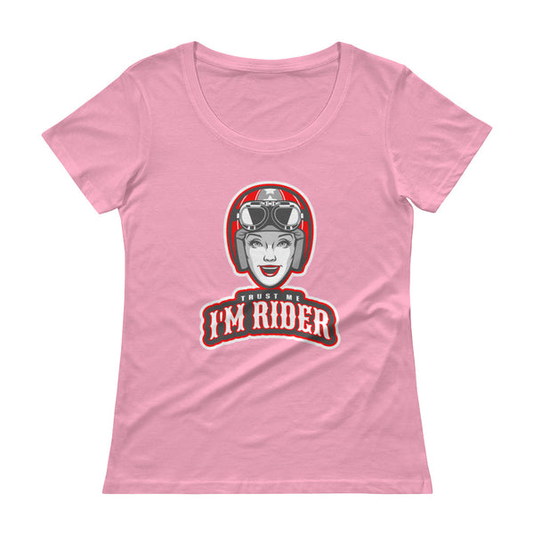 Trust Me I'm Rider Ladies' Scoopneck T-Shirt for Women - Hobbies Finder