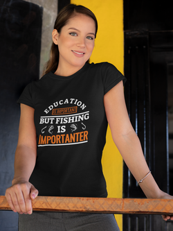 Fishing Design for Women's Crew Neck T-shirt - Hobbies Finder