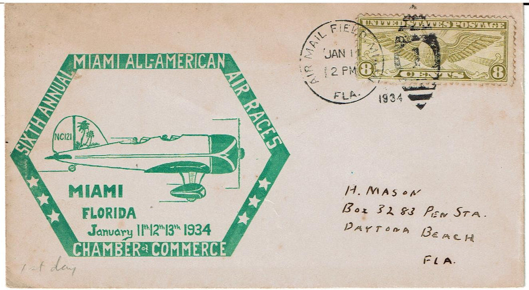 Miami 6th Annual Air Races Cover 1/11/1934 with C17