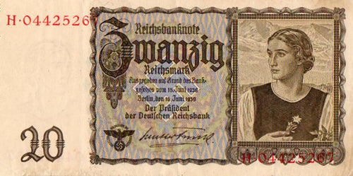 Germany 1939 Reichsmark Zwanzig 20 Uncirculated