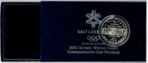 US $1 Silver Proof Commemorative Coin 2002 Olympic Winter Games
