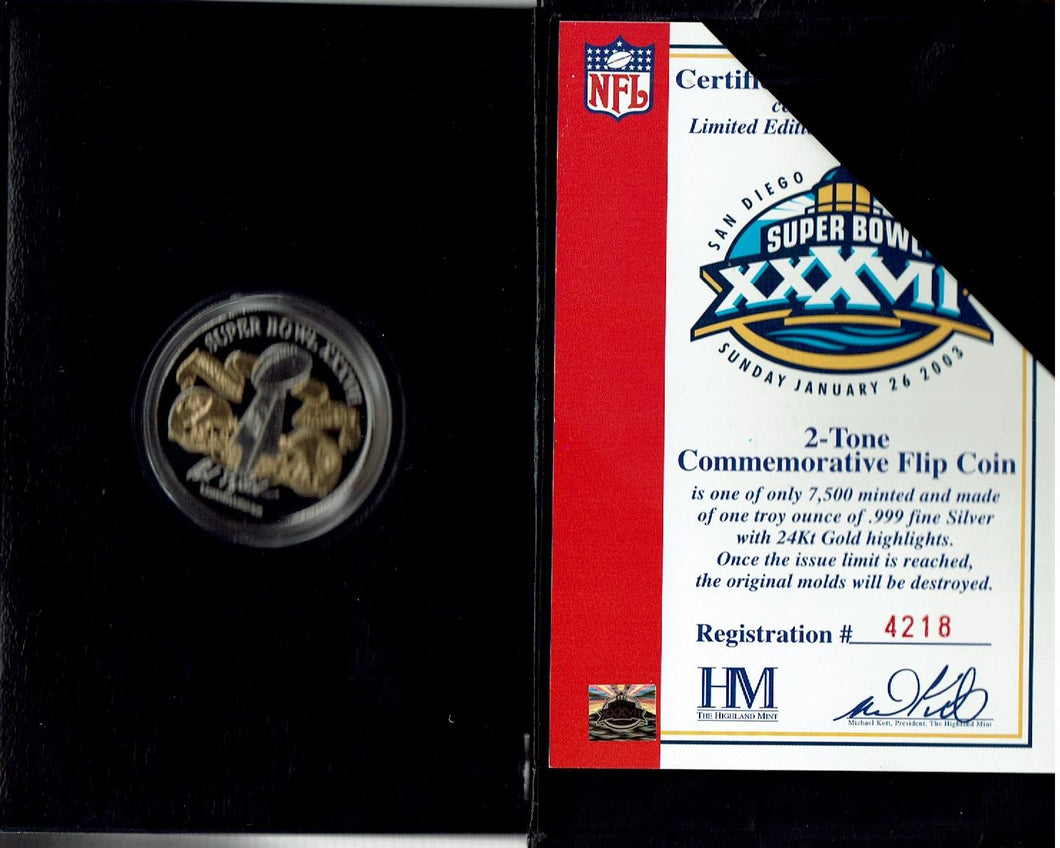 Super Bowl Flip Coin 2003 .999 Silver Buccaneers-Raiders 4218 of 7500