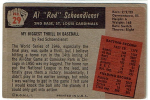 "Baseball Al ""Red"" Schoendienst  29  Bowman 1955"