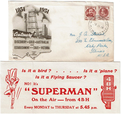 Australia FDC 244-5 to Illinois USA With Superman Advertisement Flyer
