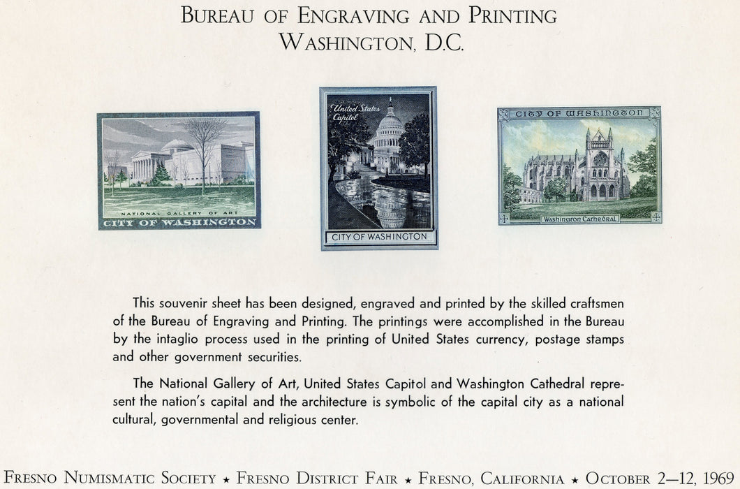 Souvenir Card, Bureau of Engraving and Printing, Fresno California 1969