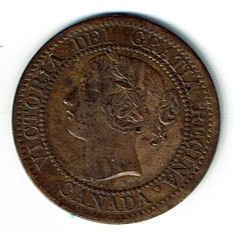 Canada 1859 one cent AU50 narrow 9 KM1 obv