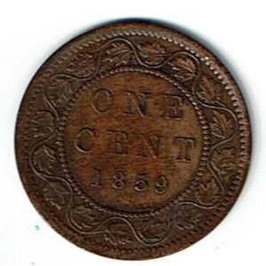Canada 1859 one cent AU50 narrow 9 KM1 rev