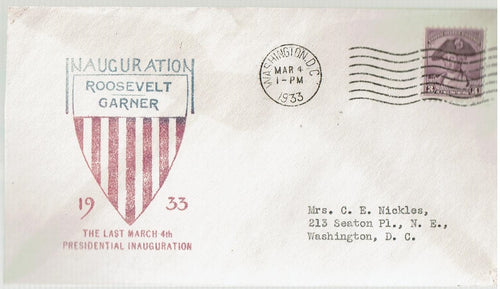 US Inaugural Cover 1st Term Roosevelt