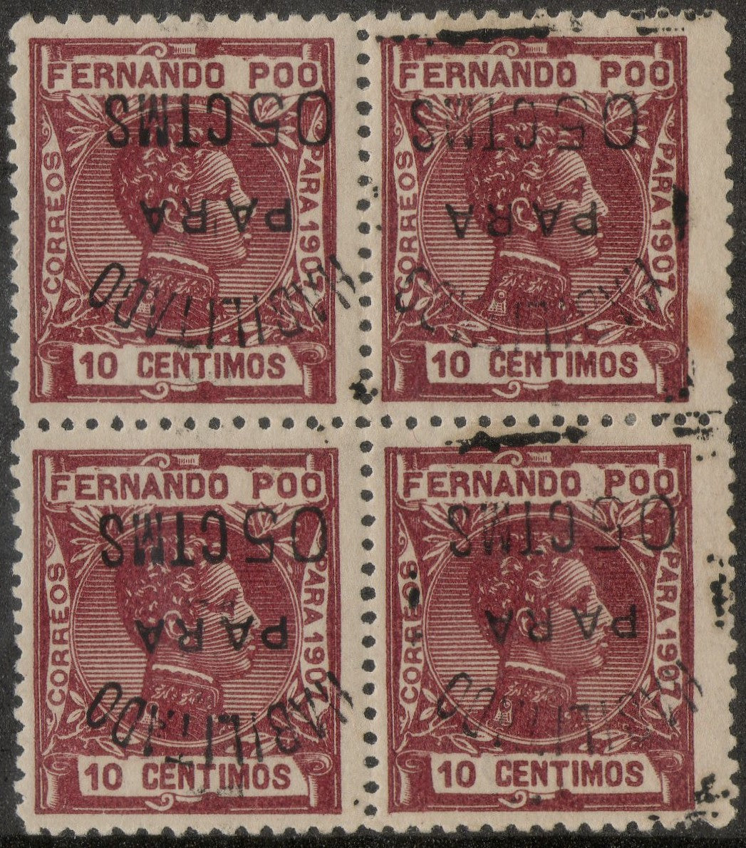Fernando POO #168, Inverted Overprint, Block of 4