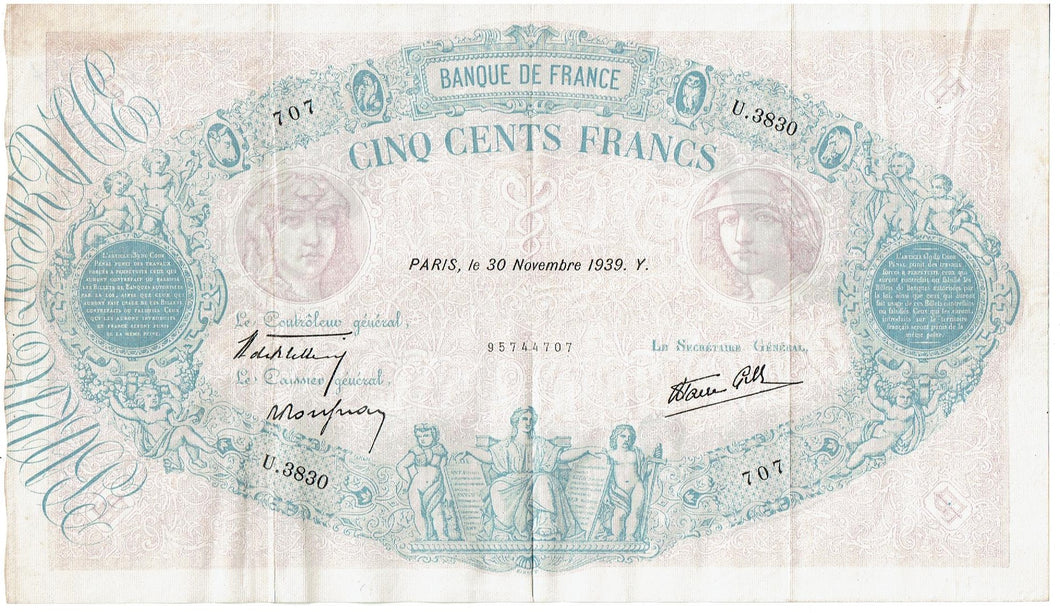 France Cinq Cents Francs Krause 88c 1939